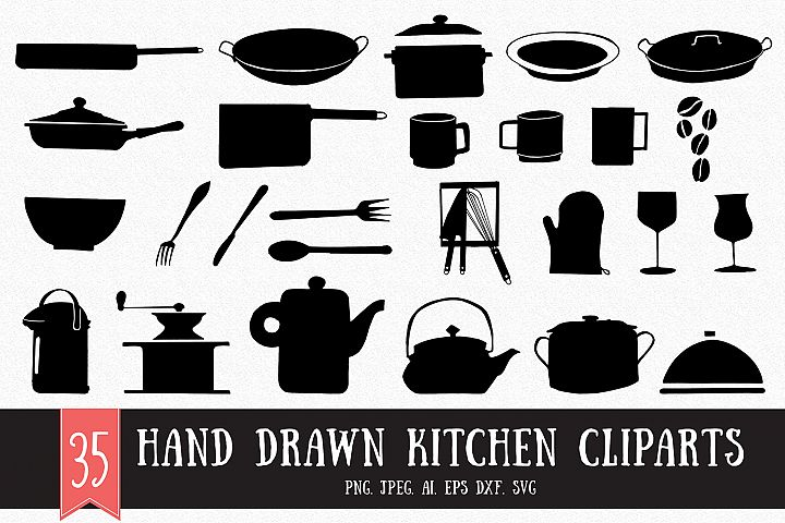 35 Hand Drawn Kitchen Cliparts