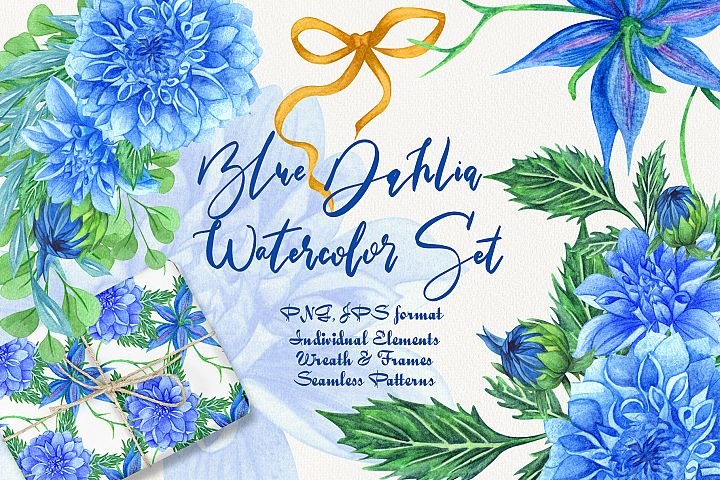 Blue Dahlia Watercolor Set