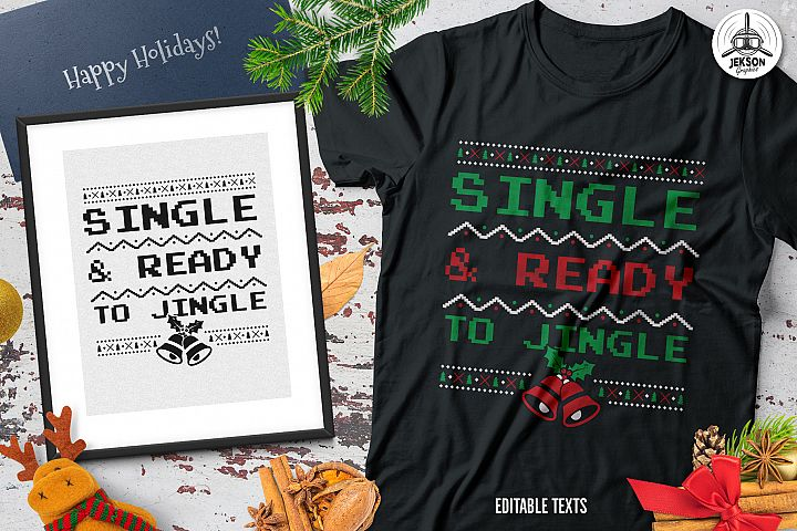 Funny Christmas Jingle T-Shirt, Retro Design. Xmas Tee SVG
