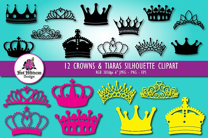 Royal Crowns and Tiaras Silhouettes Clipart Bundle