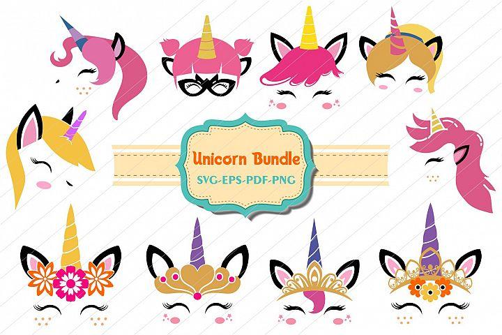 unicorn bundle, Unicorn svg, unicorn face cut files, licorne