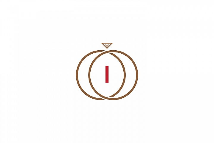 i letter ring diamond logo