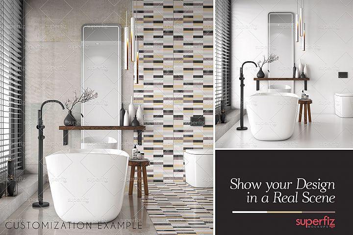 Floor and Wall PSD Mockup Bathroom Scene SM81