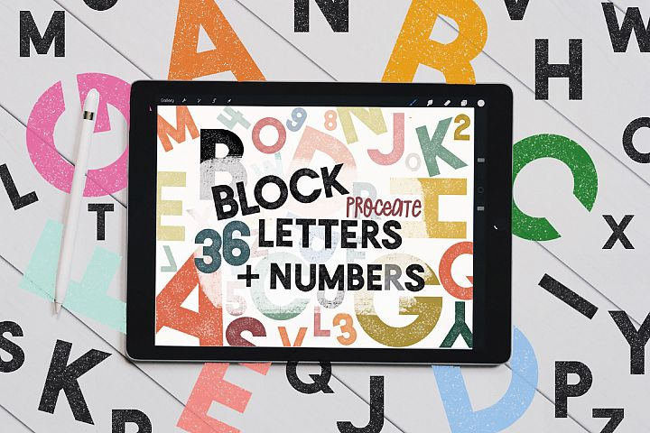Textured Block letters & numbers Stamp Brushes for Procreate