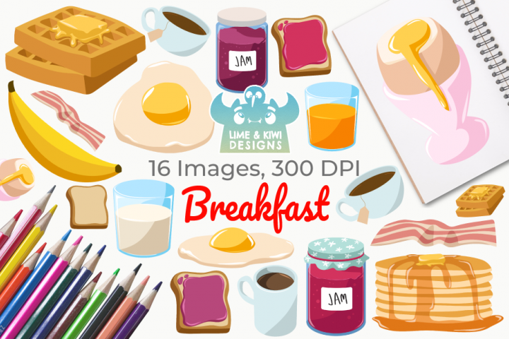 Breakfast Clipart, Instant Download Vector Art