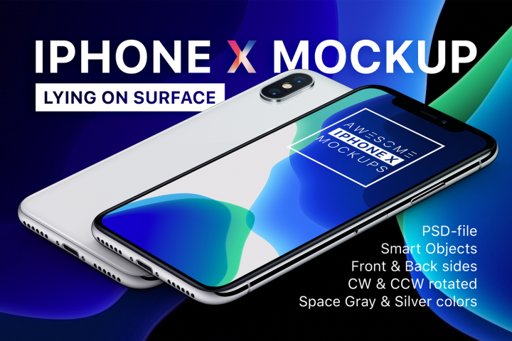 iPhone X Mockup - Lying On Surface