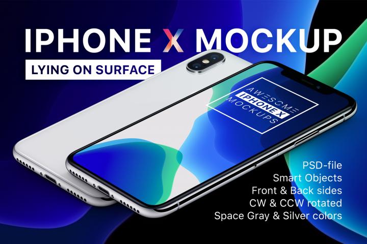 iPhone X Mockup - Lying On Surface