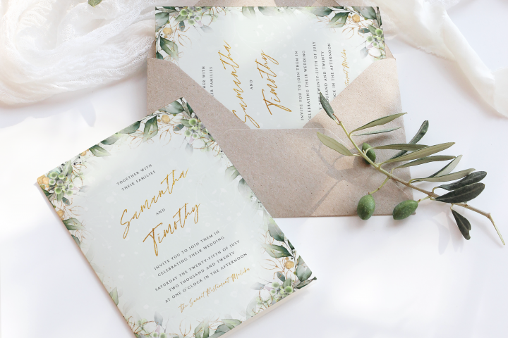 Green & Gold Wedding Invite Template