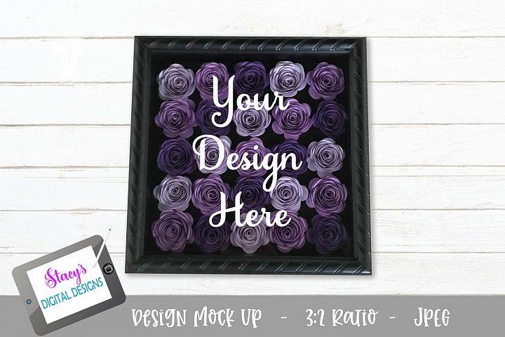 Mock Up - Rolled flower shadow box - Purple