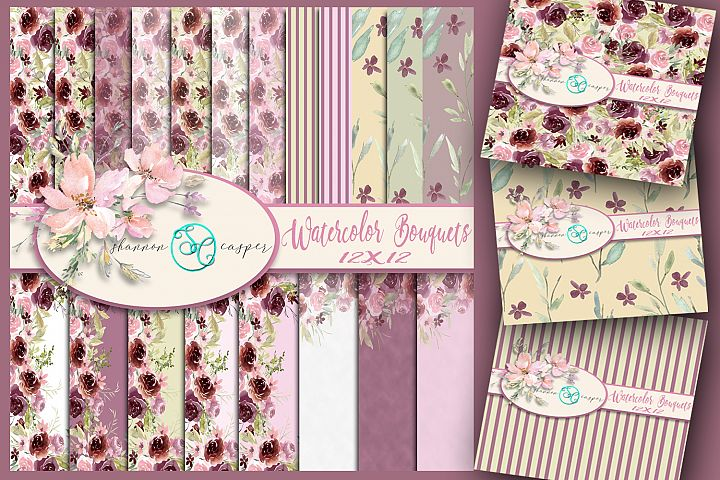 22 Watercolor Spring Bouquet Borders Scrapbook Digital Paper