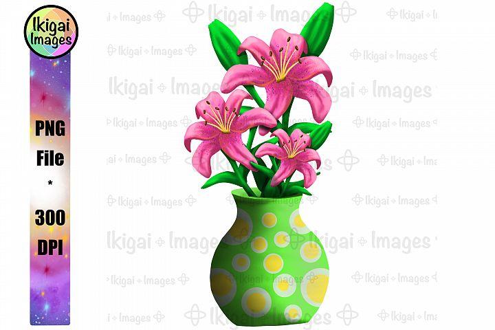 Pink Lily Bouquet in Vase Sublimation Floral PNG Image File