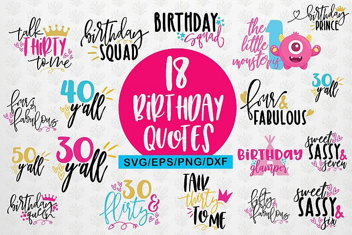 Birthday Quote SVG Bundles Cutting Files - DXF PNG EPS