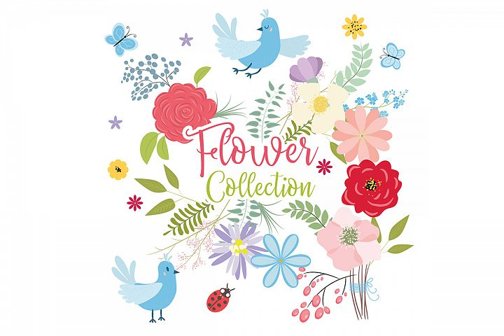 Flower collection. Vector set of plants, flowers and herbs.