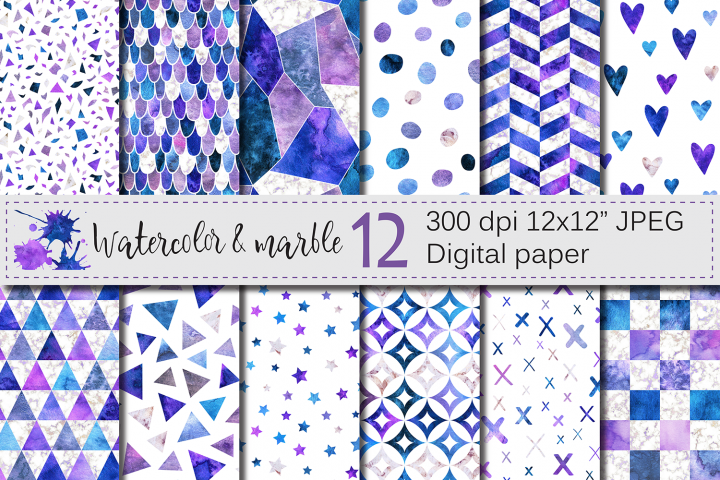Watercolor and marble purple blue seamless digital paper