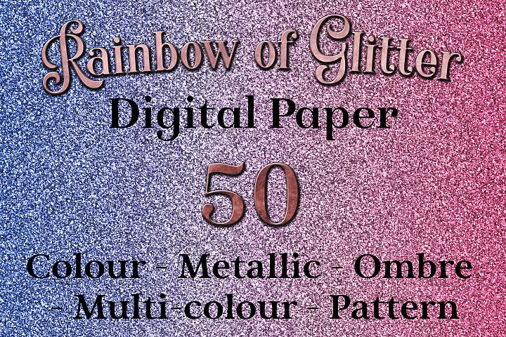 Rainbow of Glitter - 50 Digital Paper Images / Textures
