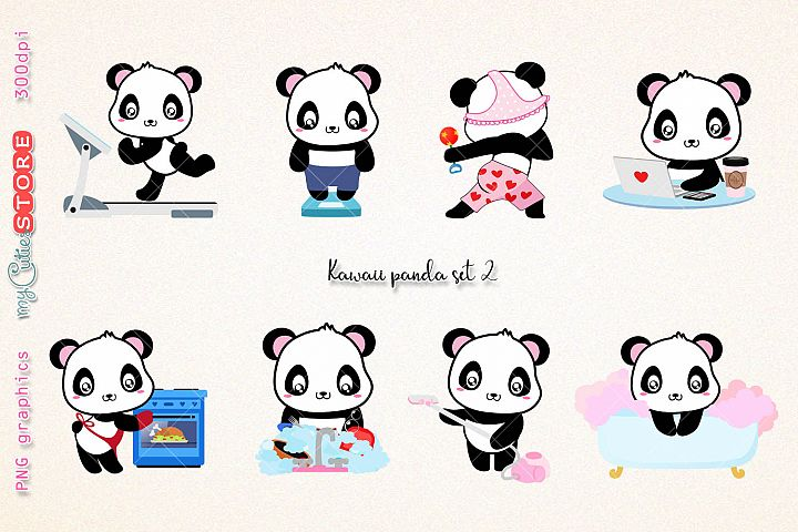 Kawaii panda clipart, PNG graphics collection, treadmill, weight scale, cooking, wash dishes clip art great for planner stickers or digital planning.