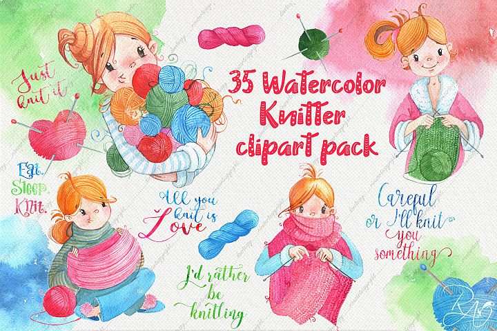 Watercolor knitter girl clipart pack