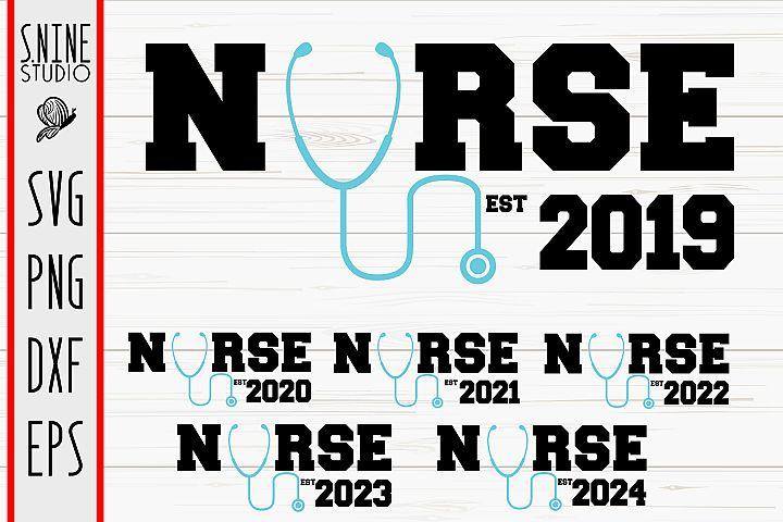 Nurse Graduation Bundle Est 2019 to 2024 Cut File