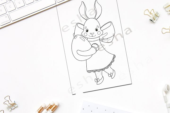 Easter Bunny rabbit coloring page