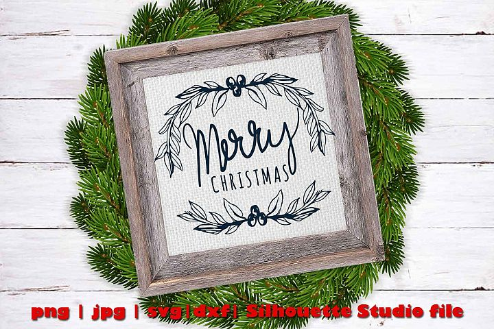 Hand drawn Merry Christmas Garland Cut file