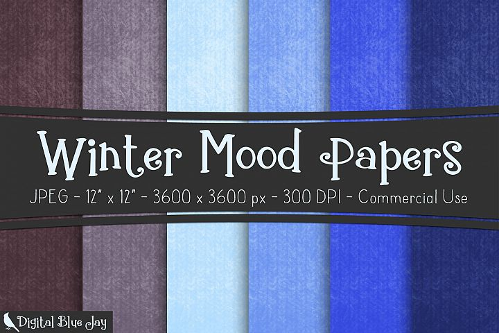 Digital Paper Textured Backgrounds - Winter Mood