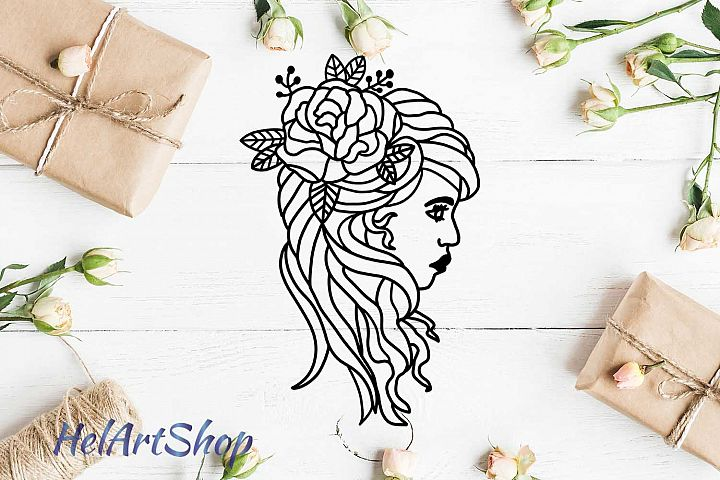 Woman face with flowers svg design