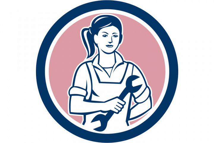 Female Mechanic Spanner Circle Retro