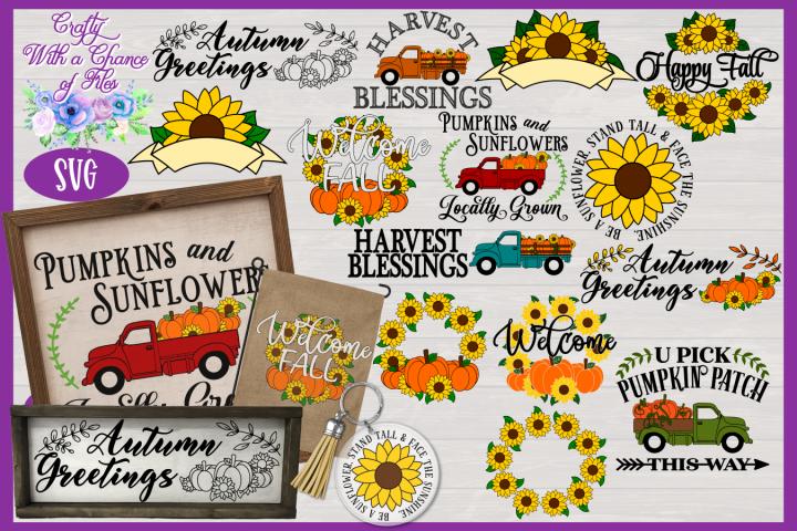 Fall SVG Bundle | Pumpkin & Sunflower SVG Designs | Autumn
