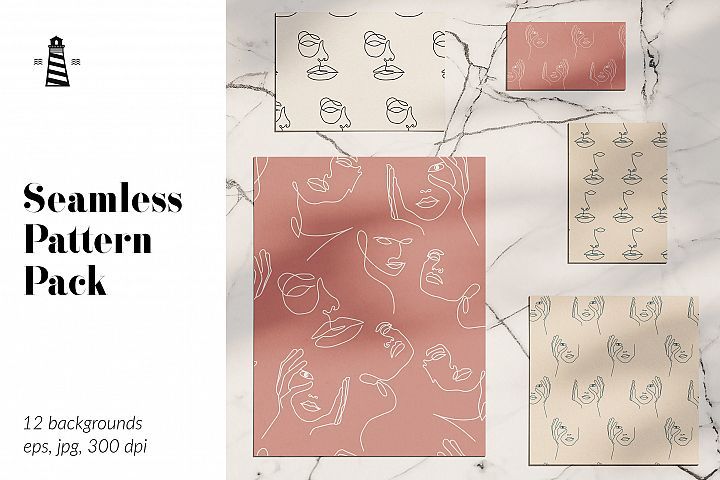 One Line Drawings, One Line Seamless Patterns