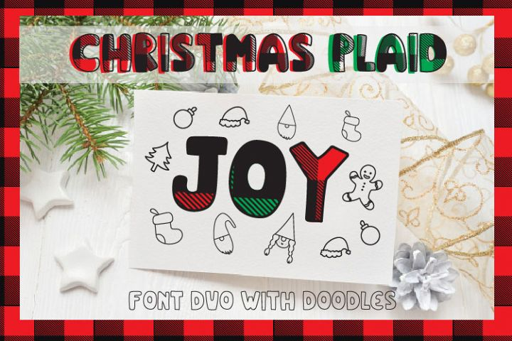 Christmas buffalo plaid font with doodles elements