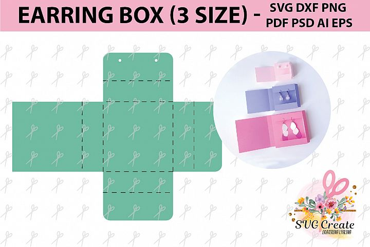 Earring card, earring display, earring organizer, svg box