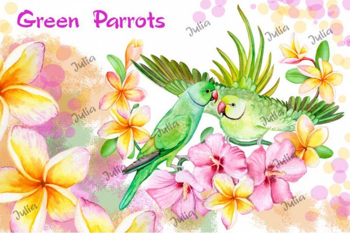 Green parrots couple in a tropical floral bouquet