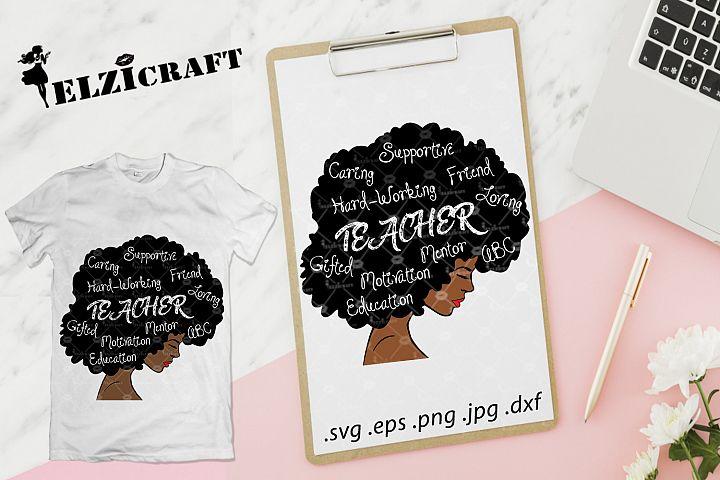 Afro Woman Teacher Life SVG Cut File