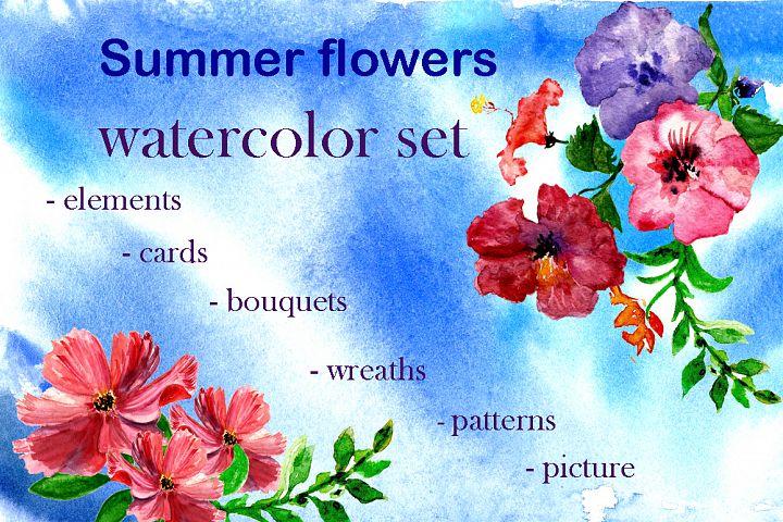 Set summer flowers