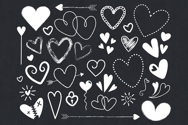 Black and White Silhouette Scribble Heart Clip Art Set