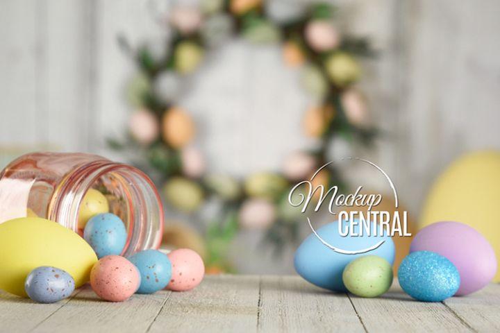 Easter Egg Background Tabletop Mock Up, JPG Mockup