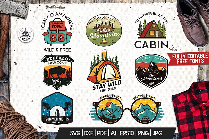 Vintage Camp Badges | Adventure Patches. Part | SVG Cut File