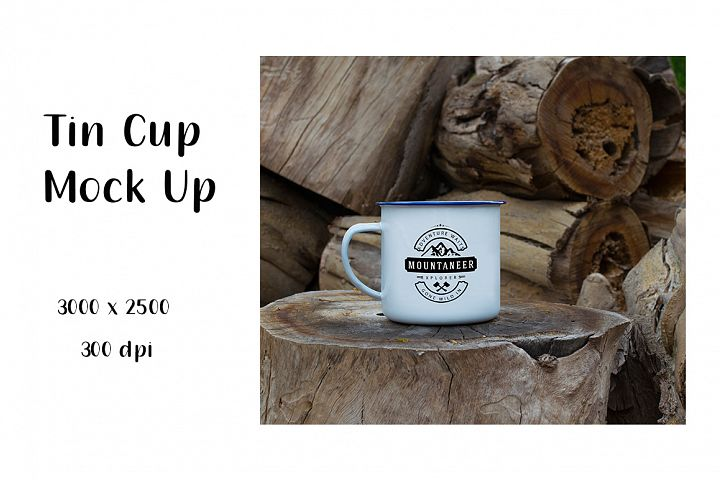 Tin Cup Mock Up on Wooden Log