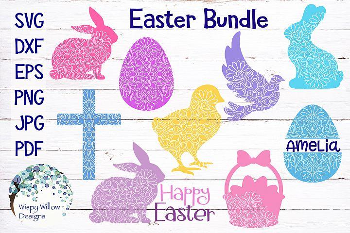 Easter Mandala SVG Bundle | Egg, Bunny, Cross, Dove, Chick