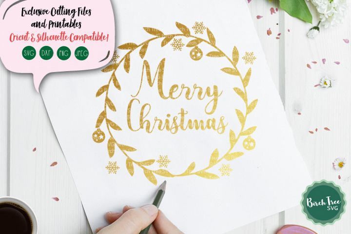 Merry Christmas Wreath Svg, Christmas Svg, Cutting File Svg