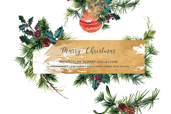 Watercolor Christmas Evergreen Clipart