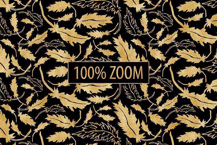 Black and Gold Seamless Papers - Damask & Geometric Patterns example 8