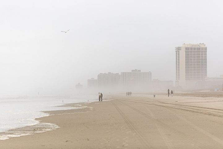 Atlantic city shore on a foggy morning