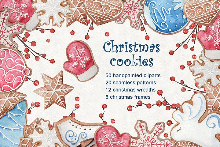 Watercolor Christmas cookies set