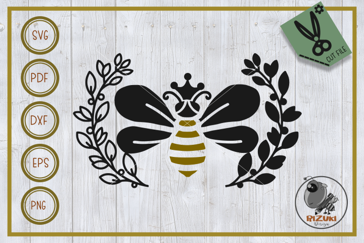 bee svg file, bee queen with wreath silhouette, cut file