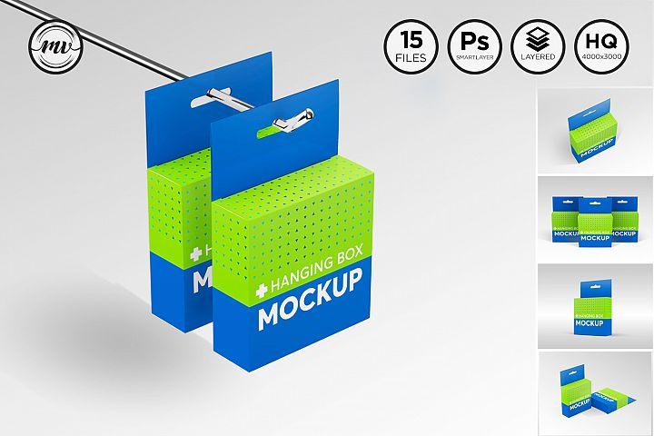 Flat Square Box with Hanger Mockup