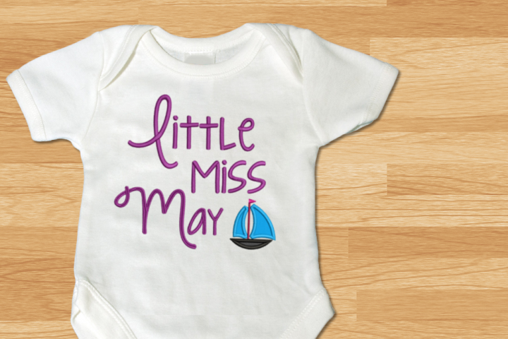 Little Miss May Sailboat Applique Embroidery Design