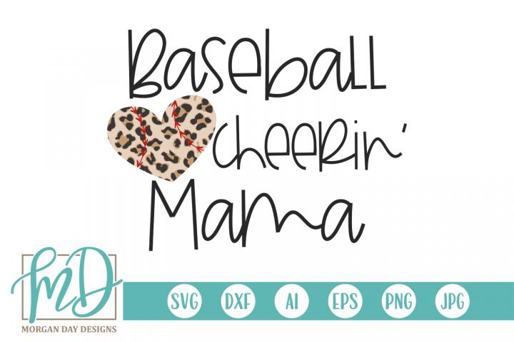 Leopard Baseball Heart - Baseball Cheerin Mom SVG