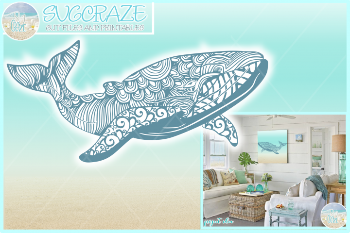 Blue Whale Mandala Zentangle SVG Dxf Eps Png PDF