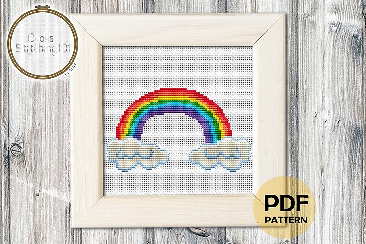 Rainbow Cross Stitch Pattern - Instant Download PDF